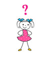 hand drawn cartoon girl thinking with question vector image vector image