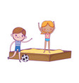 happy childrens day boy with soccer ball and girl vector image