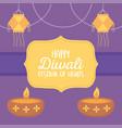 happy diwali festival hanging lanterns and diya vector image vector image