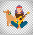 hippie girl with guitar and dog vector image vector image