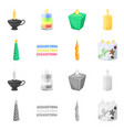 isolated object of relaxation and flame icon set vector image vector image