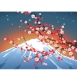 landscape with sakura and Fuji vector image vector image
