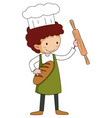 little baker holding baking stuff cartoon vector image vector image