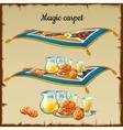 Magic carpet food three images vector image vector image
