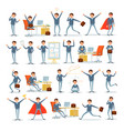 man busy with work businessman characters at work vector image vector image