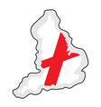 map of england with its flag vector image vector image