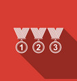 medal set icon with long shadow winner simbol vector image