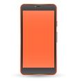 Modern orange color touchscreen cellphone vector image
