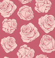 pattern of flowers pink roses vector image vector image