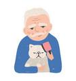 portrait elderly man holding his cat or kitten vector image vector image
