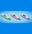 realistic colorful usb flash cards in isometry vector image vector image