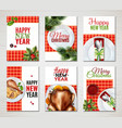realistic turkey christmas banner set vector image