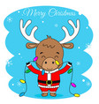 reindeer with christmas lights vector image vector image
