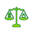 ring jewelery and dollar symbol on scales vector image vector image