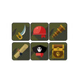 set pirate icons sword red bandana spyglass vector image
