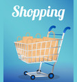 shopping cart with paper bags vector image