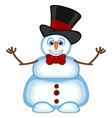 Snowman wearing a hat and bow ties waving his hand vector image vector image