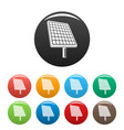 solar panel icons set color vector image vector image