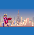 super girl city background vector image vector image