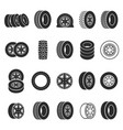 tires and wheels icon set vector image vector image