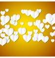 White paper hearts Valentines day card on yellow vector image