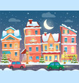 xmas card with a decorated snowy old city vector image vector image