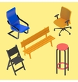 Chair armchair stool bench furniture vector image