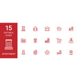15 apartment icons vector image vector image