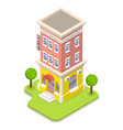 3d isometric flat concept hotel vector image