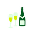 a glass and a bottle of champagne icon color vector image vector image