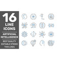 artificial intelligence icons set outline set vector image vector image