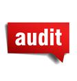 Audit red 3d realistic paper speech bubble vector image