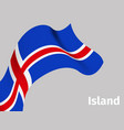 background with iceland wavy flag vector image vector image