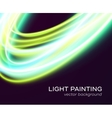 banner design with blue-green light curves vector image vector image