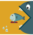 Big fish eating a small fish at the holding bomb vector image
