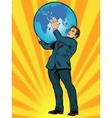 businessman titan atlas holds earth vector image vector image
