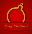 Christmas gold ball applique vector image vector image