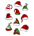 Clown joker and Santa Claus cartoon hats vector image vector image