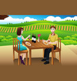 couple eating lunch picnic at a winery vector image vector image
