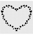 cute black heart shaped border for valentine love vector image vector image