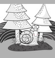 cute snail animal with pine trees vector image vector image
