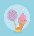 delicious and sweet lollipop and products kawaii vector image vector image