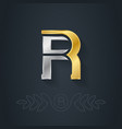 elegant gold and silver font Letter R Template for vector image vector image