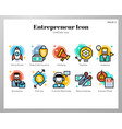entrepreneur icons linecolor pack vector image vector image