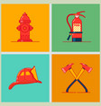 firefighting equipment and firefighters profession vector image
