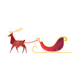flat christmas reindeer with santa sleigh vector image vector image