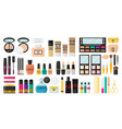 flat design of make up tools and cosmetics vector image vector image
