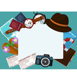 Frame with a hat tickets passports and other items vector image
