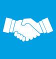 handshake icon white vector image vector image