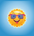 happy smiling sun in pink sunglasses vector image